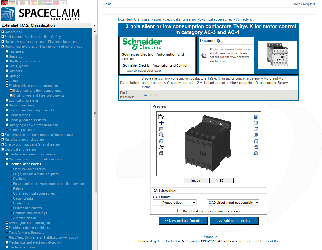 SpaceClaim TraceParts User Interface